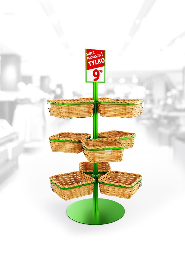 Vegetable and fruit rack with wicker baskets