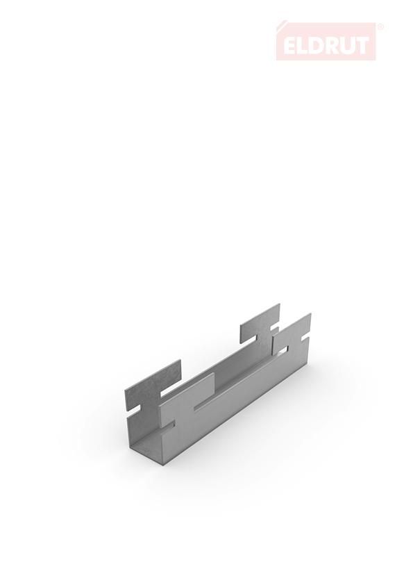 Zapinka z blachy do wieszana na profilu perforowanym