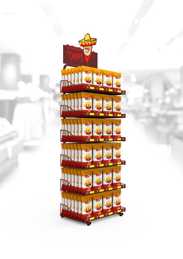 Expositor de suelo para patatas fritas